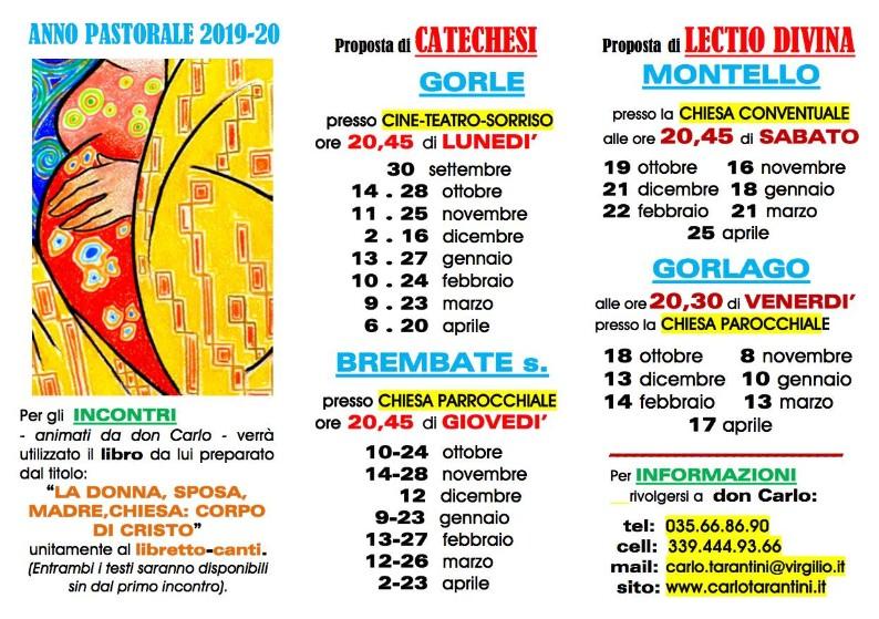 Calendario Pastorale 2020.C A L E N D A R I O C A T E C H E S I 2019 2020